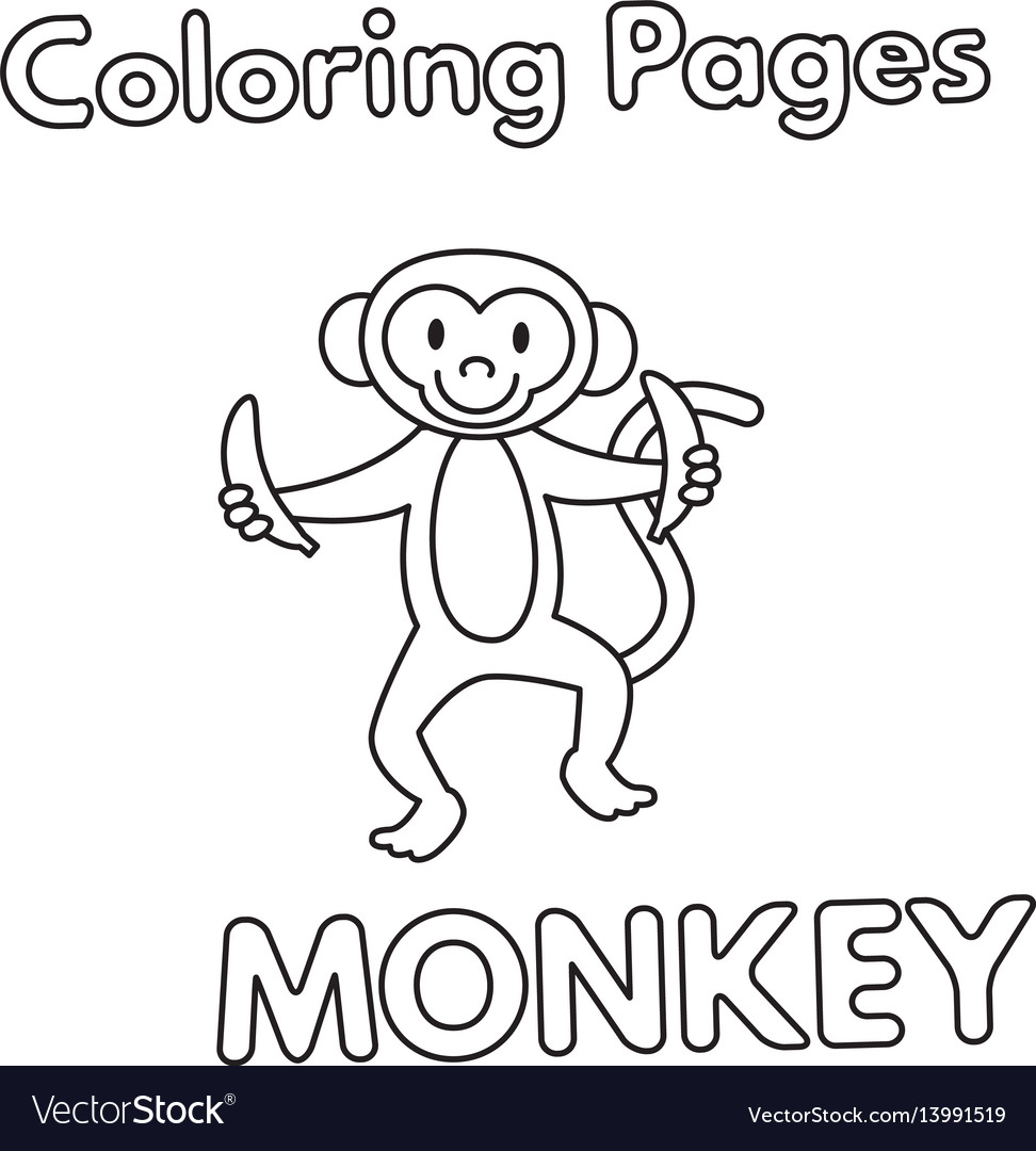 Cartoon Monkey Coloring Book Royalty Free Vector Image