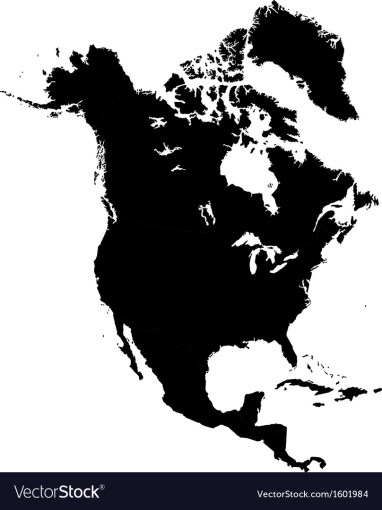Black North America map Royalty Free Vector Image Black North America map vector image