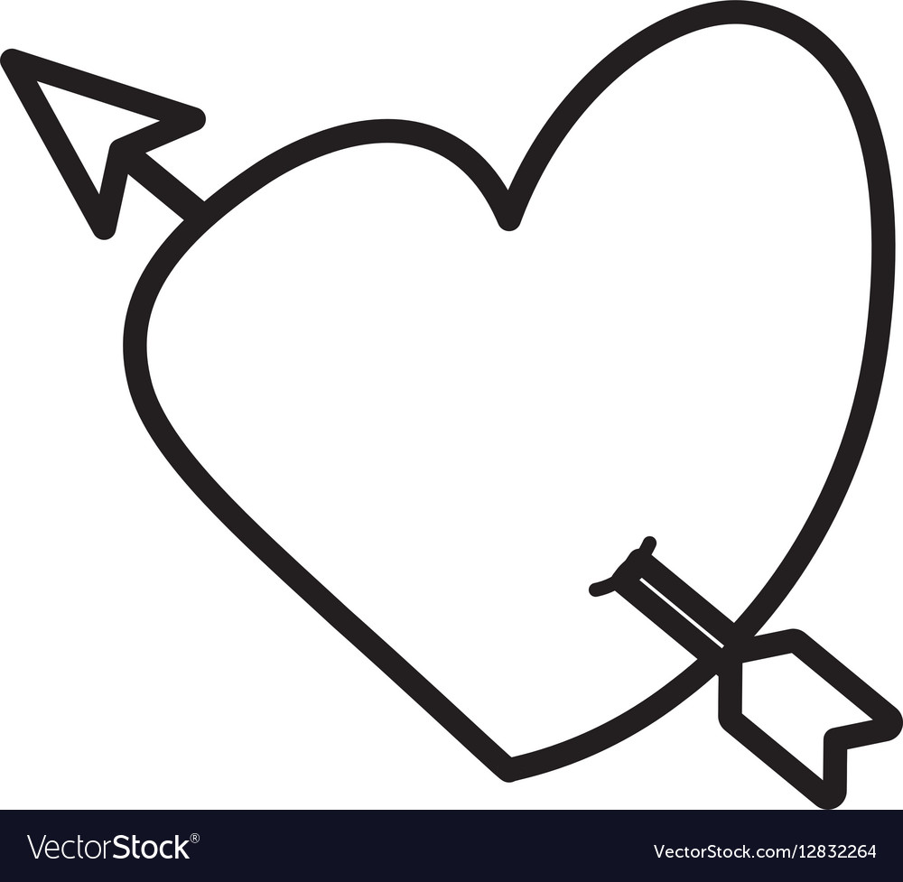 Download Heart love arrow cute outline Royalty Free Vector Image