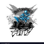 Quad Bike Off Road Atv Logo Dust And Dirt Vector Image