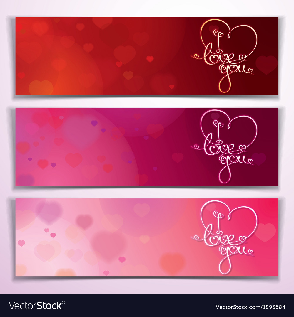 Download Three I Love You Banners Red Pink Royalty Free Vector Image