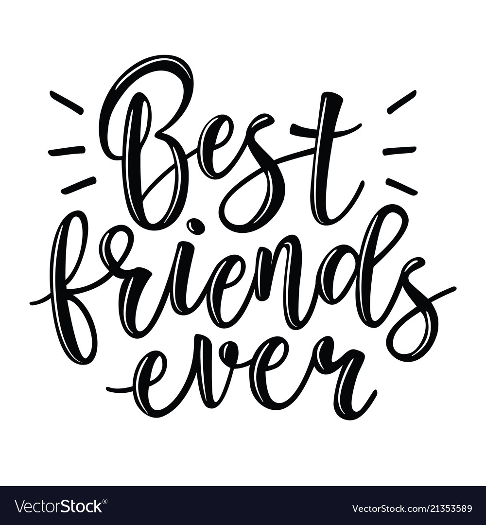 Best Friends Lettering Royalty Free Vector Image