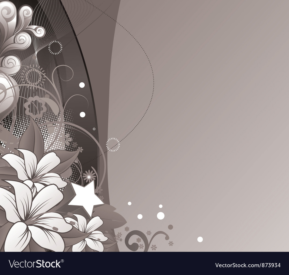 Abstract Floral Wallpaper With Wave Royalty Free Vector