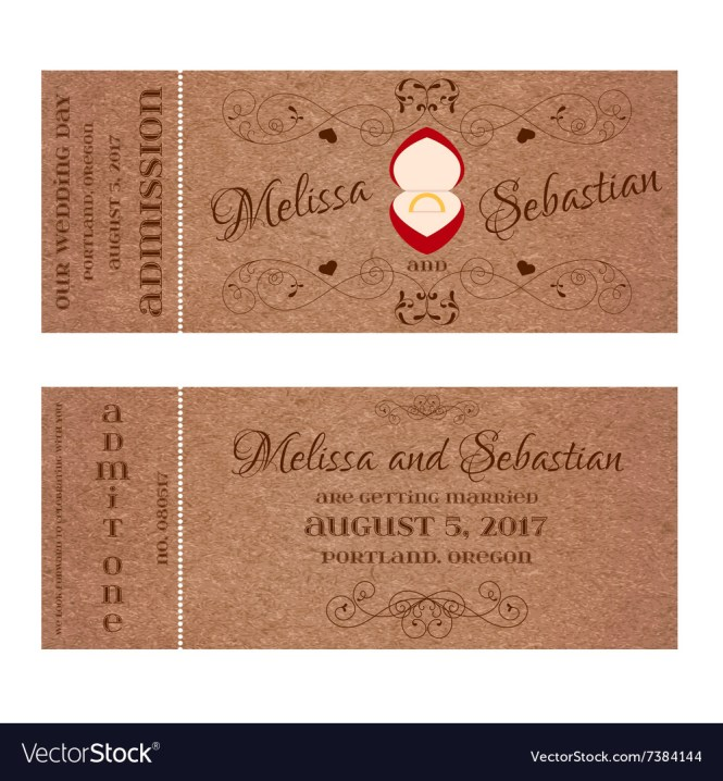 Ticket For Wedding Invitation With Golden