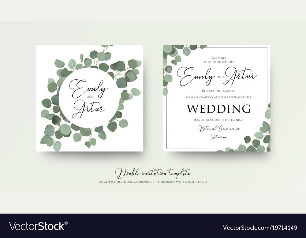Floral Wedding Invite Card Design With Eucalyptus