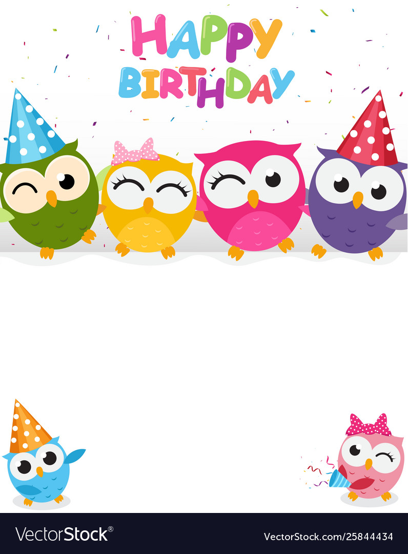 Happy Birthday With Cute Owl Royalty Free Vector Image