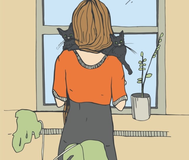 Lonely Woman Near The Window With Cats Royalty Free Vector