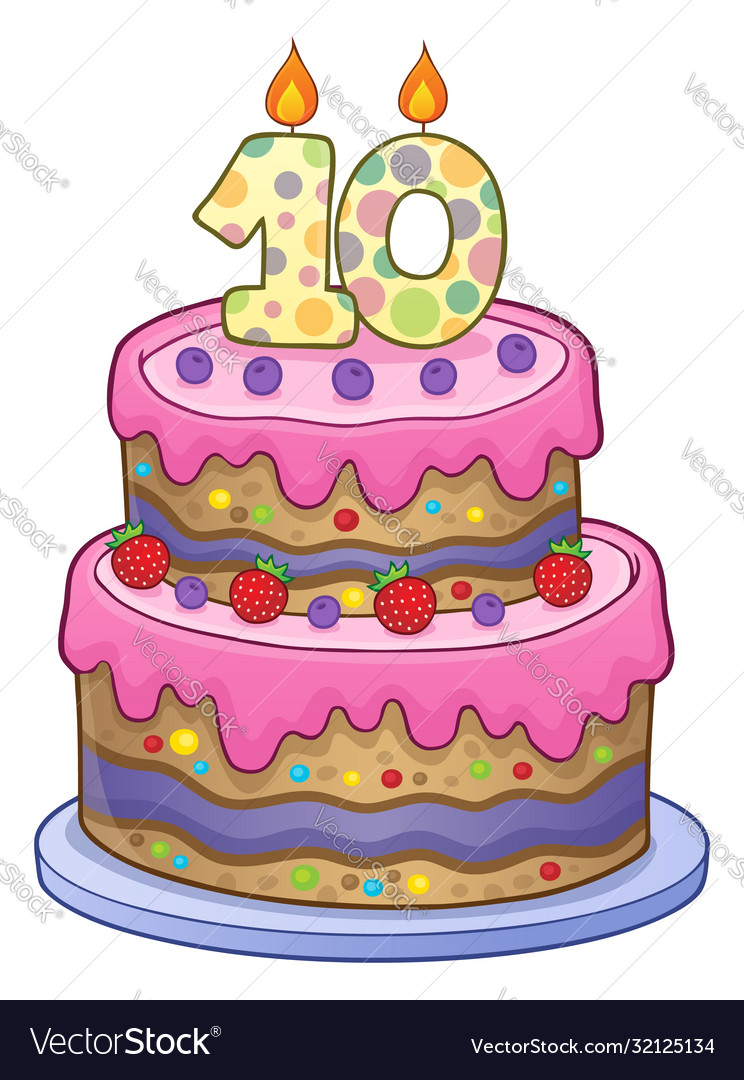 Birthday Cake Image For 10 Years Old Royalty Free Vector