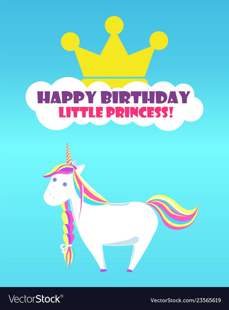 Happy Birthday Greetings Childish Unicorn Rainbow Vector Image