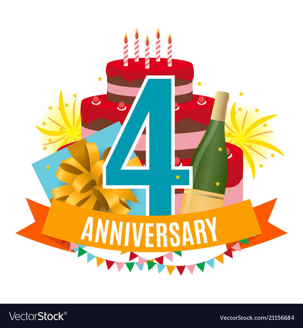 Template 4 Years Anniversary Congratulations Vector Image