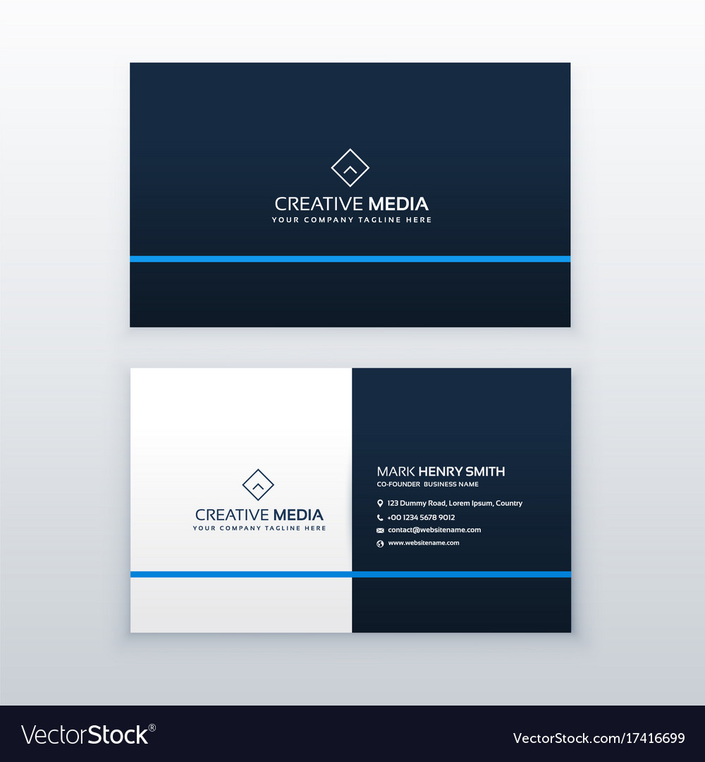 Simple Blue Business Card Design Template Vector Image