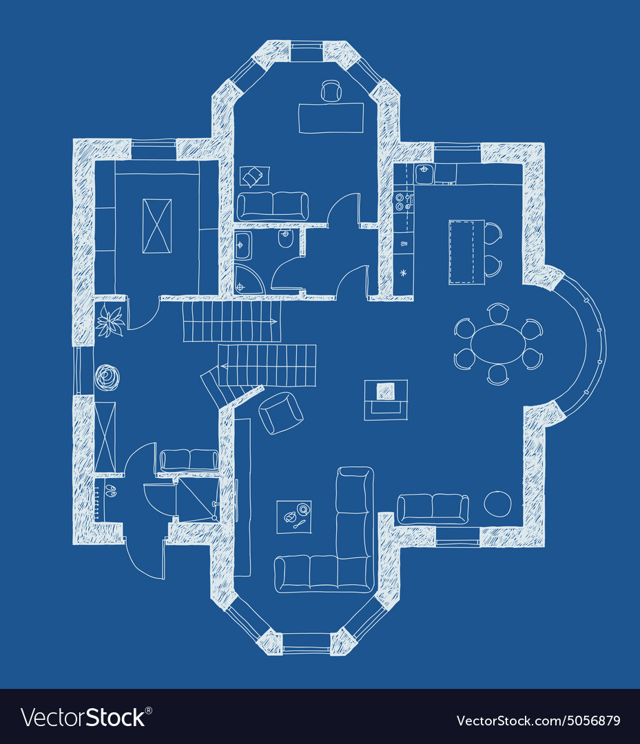 Architecture Blueprint Plan Royalty Free Vector Image