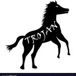 Black Trojan Horse Computer Virus Icon Royalty Free Vector
