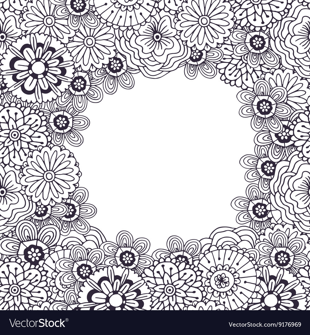 adult coloring book page frame with