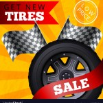 Flat Banner Get New Tires Sale Low Price Vector Image