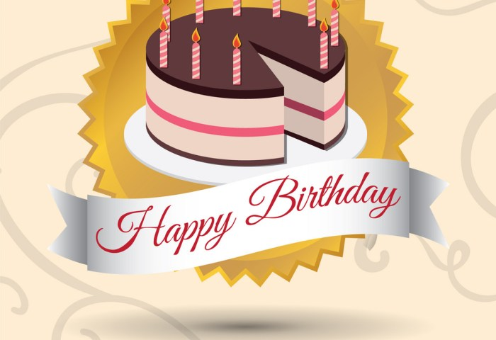 Happy Birthday Cake Candles Stamp Royalty Free Vector Image