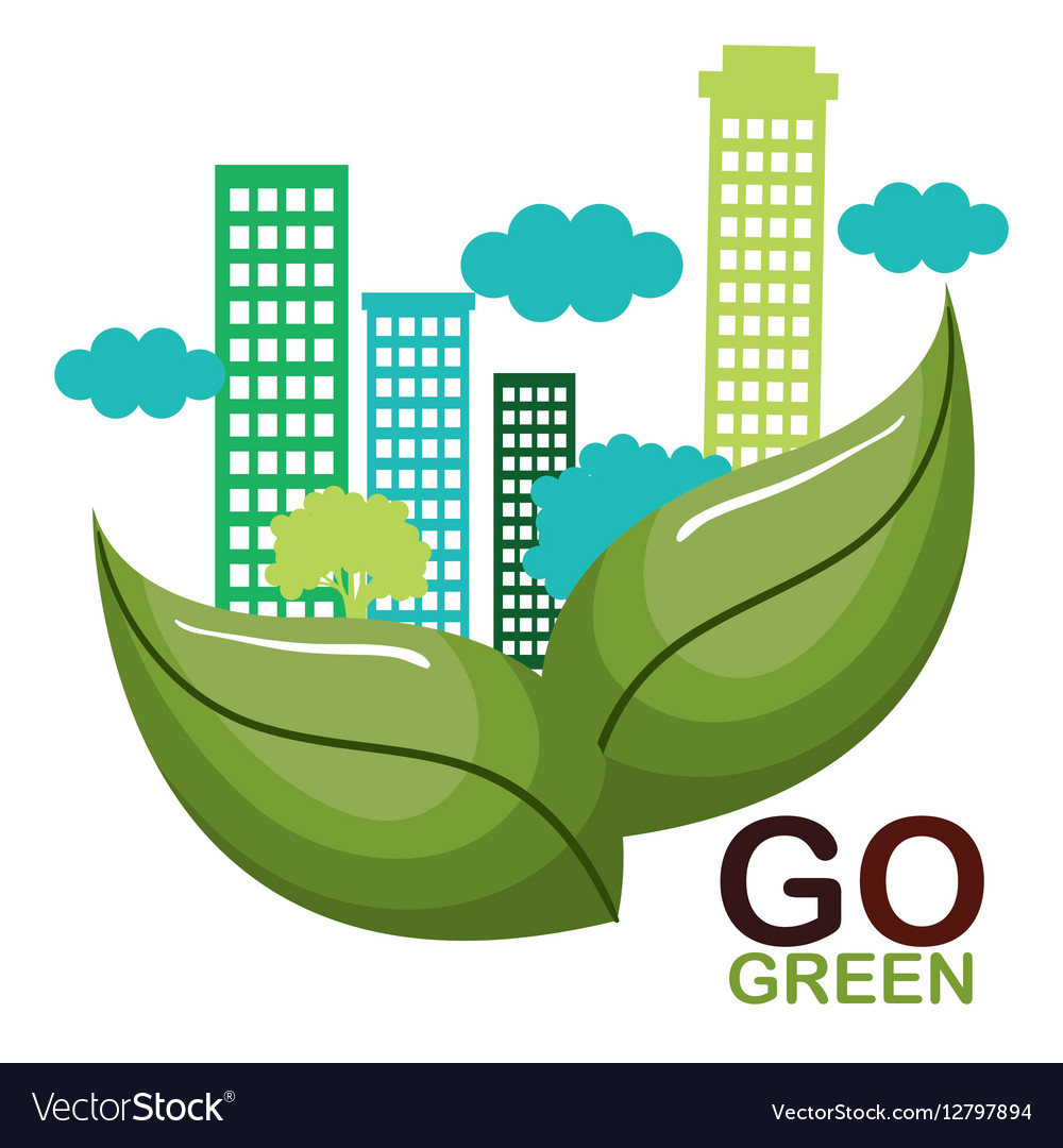 Go Green Ecology Poster Royalty Free Vector Image