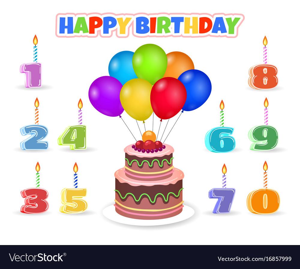 Cartoon Birthday Cake With Balloons Royalty Free Vector