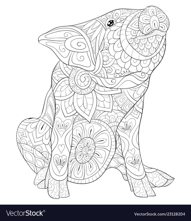 Adult coloring book page a cute pig image Vector Image