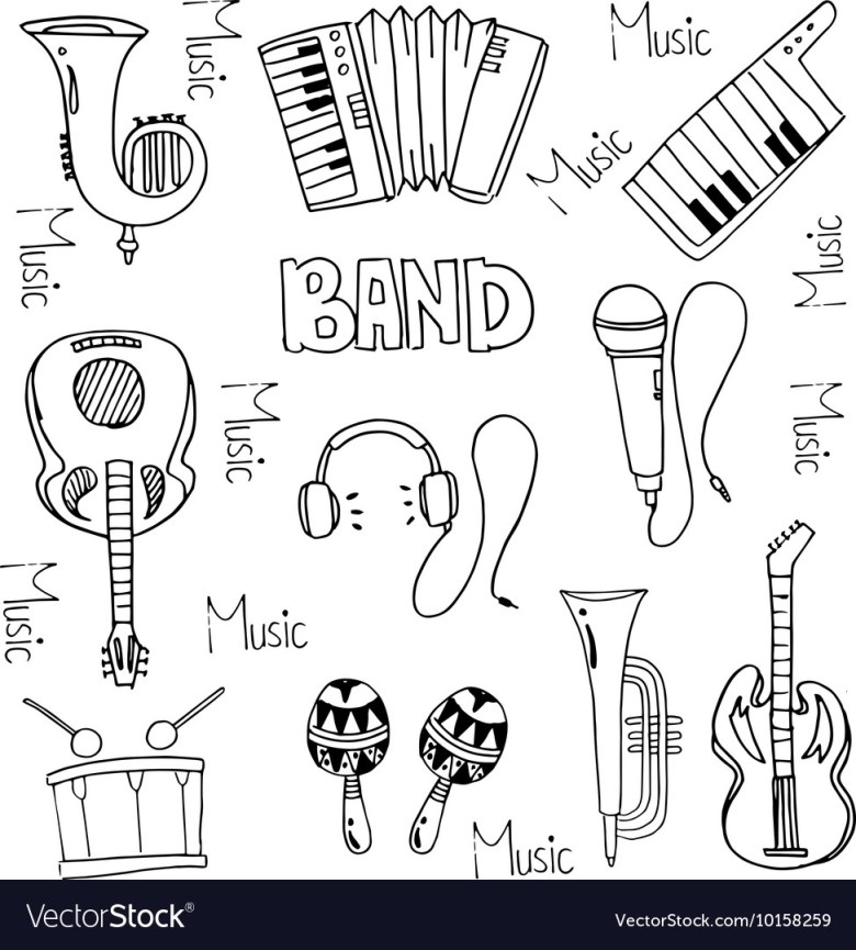 doodle of hand draw music pack royalty free vector image