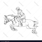 Female Rider Jumping Horse Outline Black And Vector Image
