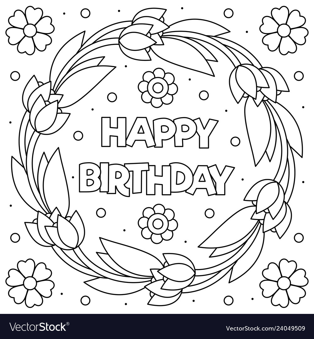 Happy Birthday Coloring Page Wreath Royalty Free Vector