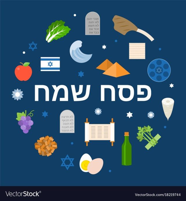 Hebrew alphabet meaning happy passover Royalty Free Vector