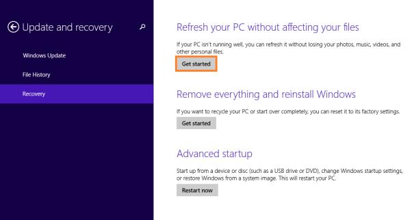 Сбой проводника Windows 8 - восстановление компьютера без изменения файлов 2 - Windows