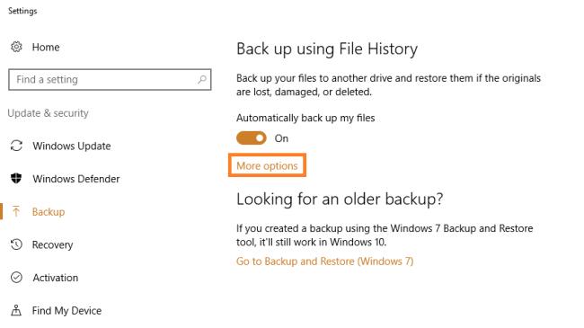 Windows 10 - История файлов - Настройки резервного копирования - 2 - Windows Wally