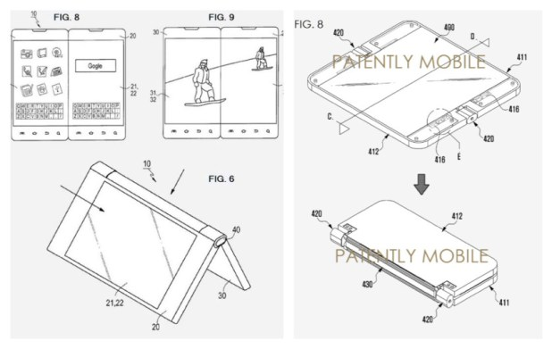 A group of black and white folding smartphone patents.