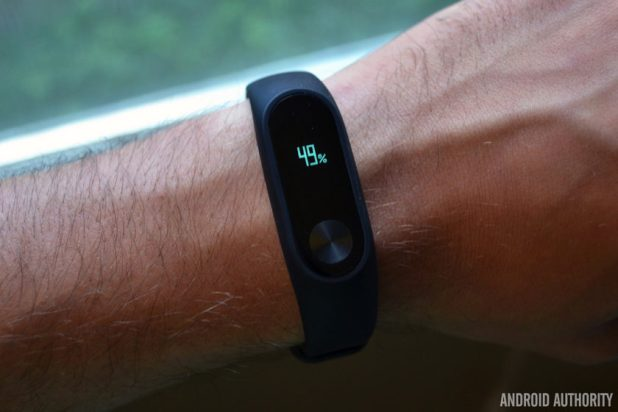 The Xiaomi Mi Band 2 fitness band.