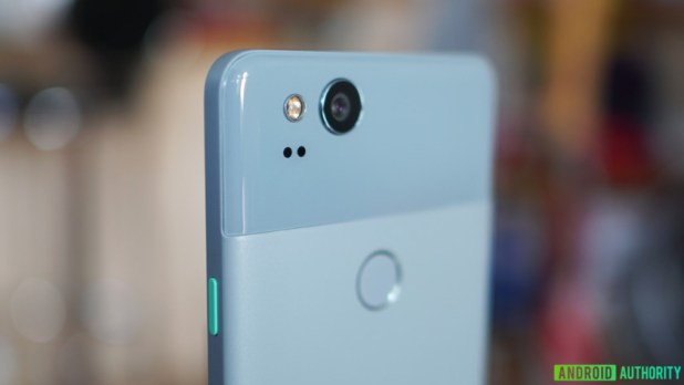 The top half of the Google Pixel 2 in light blue showing a closeup of the camera module.