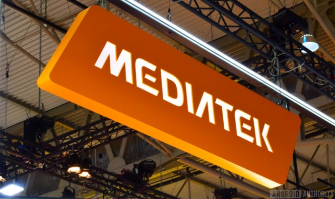 The MediaTek logo as seen at Mobile World Congress 2018.