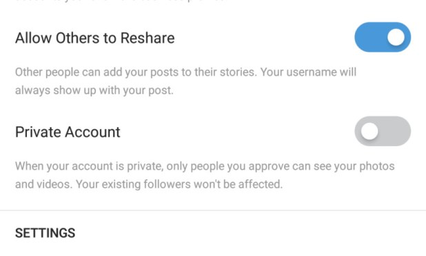 Instagram Privacy Private switch