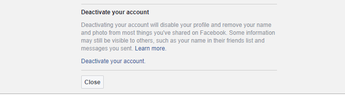 deactivate facebook screen