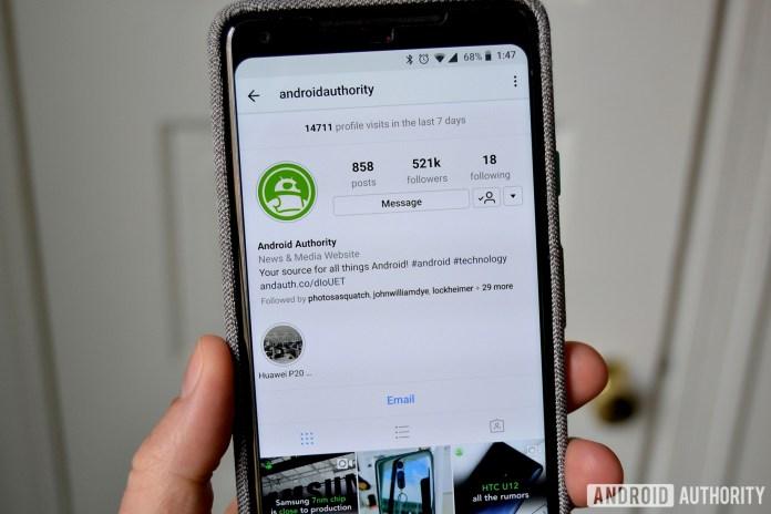 Perfil de autoridade no Instagram do Android