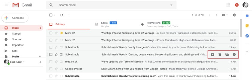 Gmail Hover button - new gmail