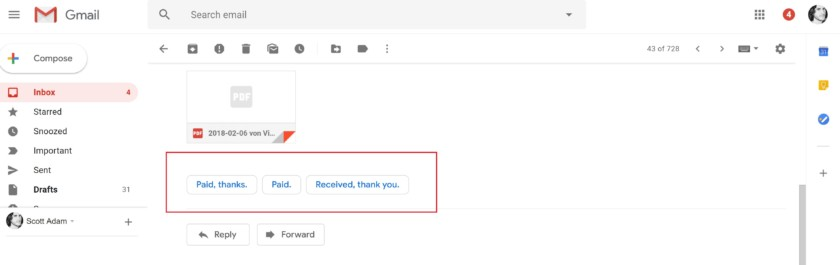 Google Gmail smart replies - new gmail