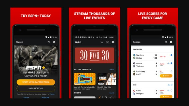 ESPN and its various sports apps