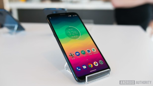 moto z3 play on a stand
