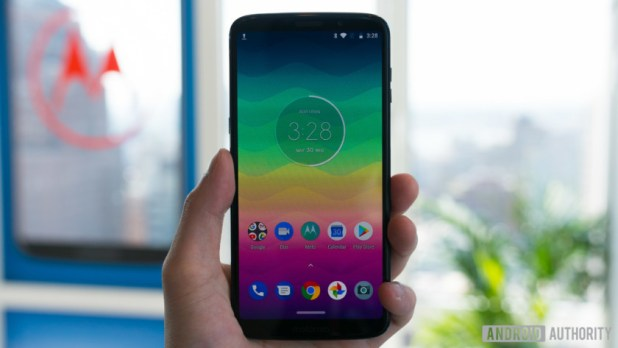 frontal shot of moto z3 play showing the homescreen and navigation interface