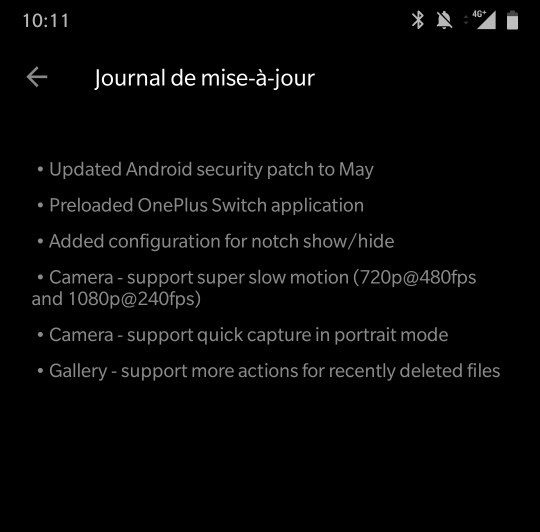 A partial screenshot of the patch notes from the first OnePlus 6 update.