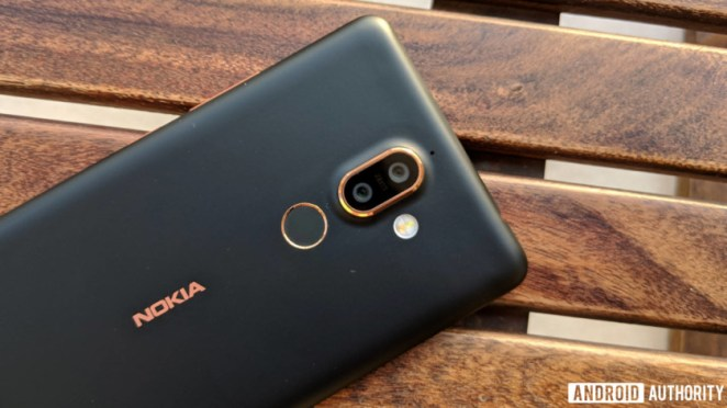 Nokia 7 plus from the back showing camera, Nokia logo and finger scanner