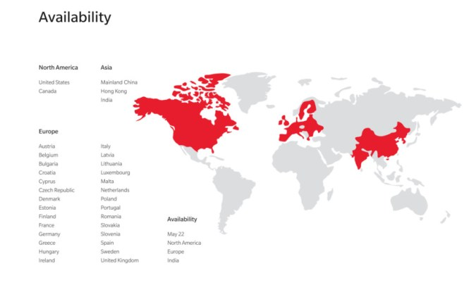 OnePlus 6 country availability