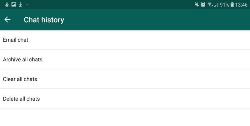 The chat history options in WhatsApp. whatsapp tricks