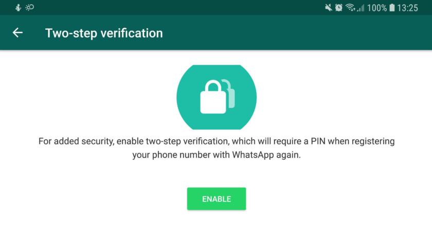 The two-step verification screen in WhatsApp - whatsapp tricks