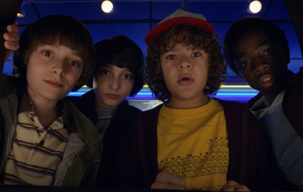 An image of the four principal cast members of the show Stranger Things - Best Netflix Original Series