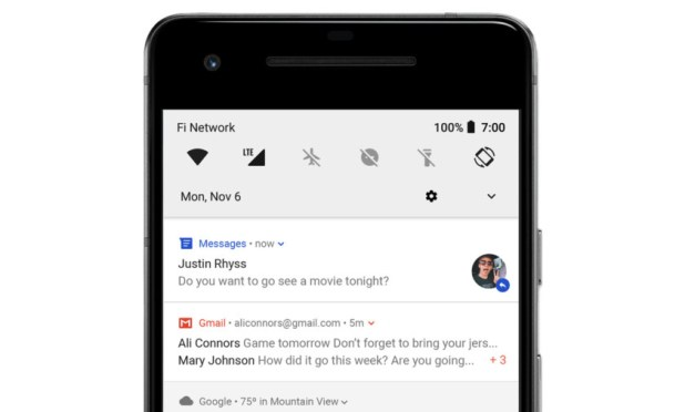 Bundled Gmail notifications in Android.