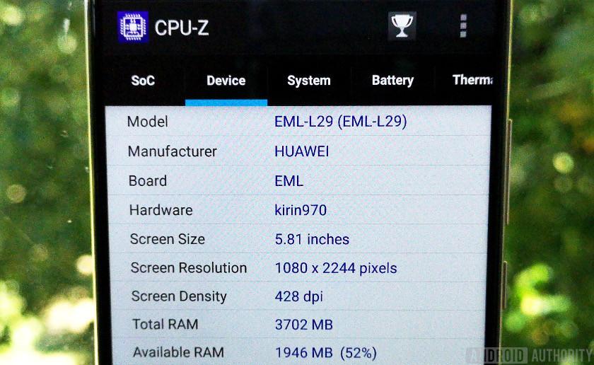 CPU-Z app displaying information about the Kirin 970
