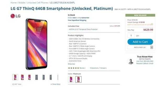LG G7 ThinQ B&H webpage screenshot.